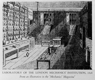 Illustration of the Laboratory of the London Mechanics Institution