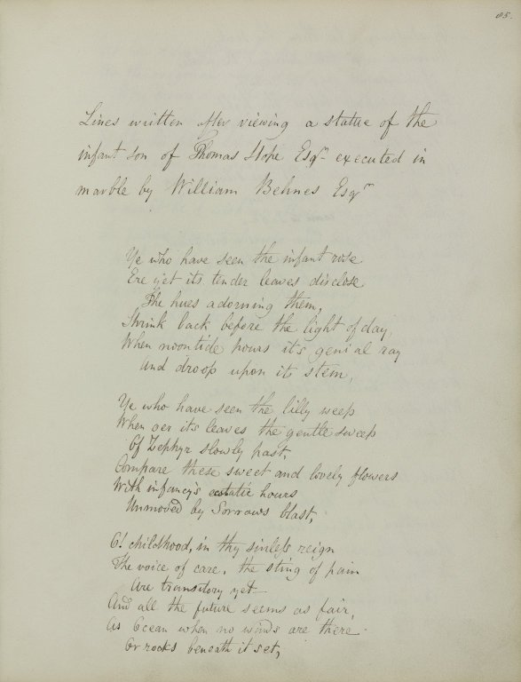 Lines written after viewing a statue of the infant son of Thomas Hope... (1 of 3)