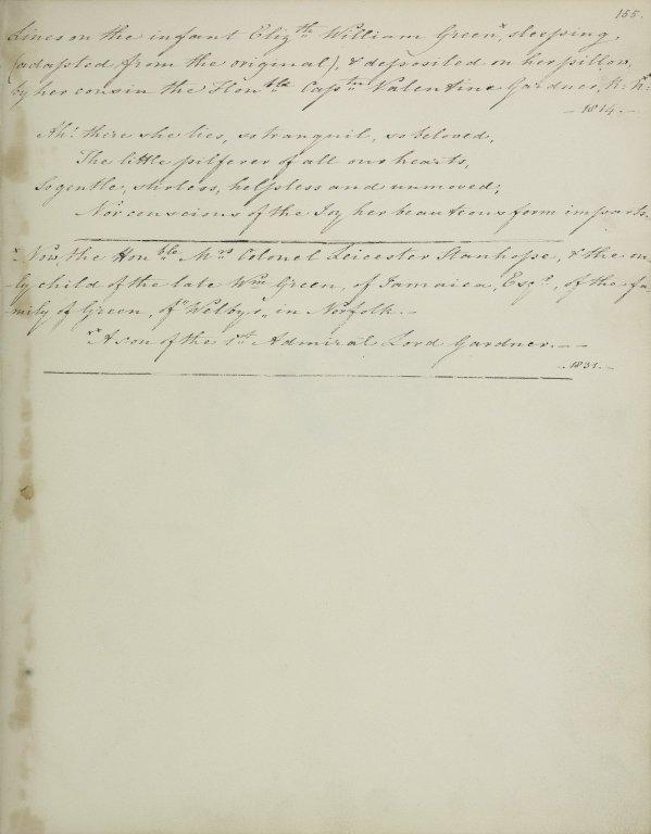Lines on the infant Elizabeth William Green...