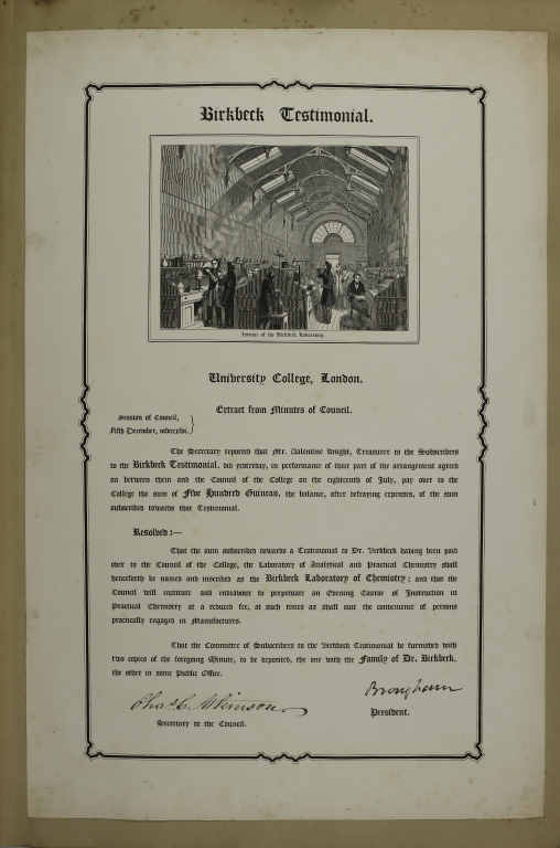 Birkbeck Testimonial: Extract from Minutes of Council